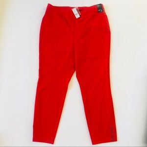 NY&C high waist pull on ankle pants - red - XL